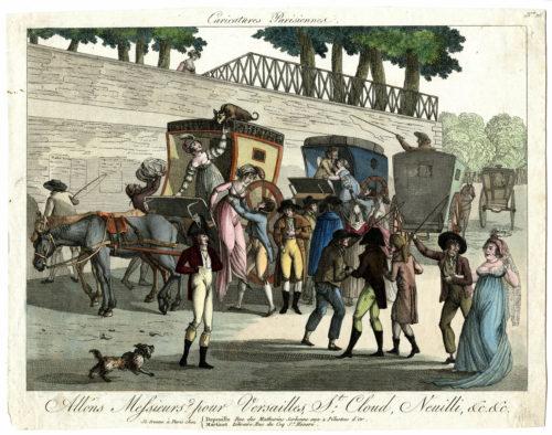 Gravure datant des années 1800, soit après la Révolution, montrant l'embarquement et le débarquement des voyageurs pour les destinations de Versailles, St-Cloud, Neuilly, etc.