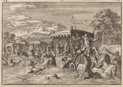 """""""Près de Senlis, l'équipage du roi Louis XIV est menacé de mort par les hautes eaux, 1670"""", gravure par Jan Luyken, 1698"""