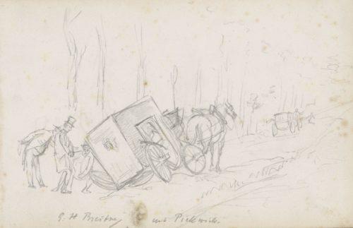 """""""Trois figure dans une voiture renversée"""", dessin sur papier de George Hendrik Breitner, 1874-1876"""