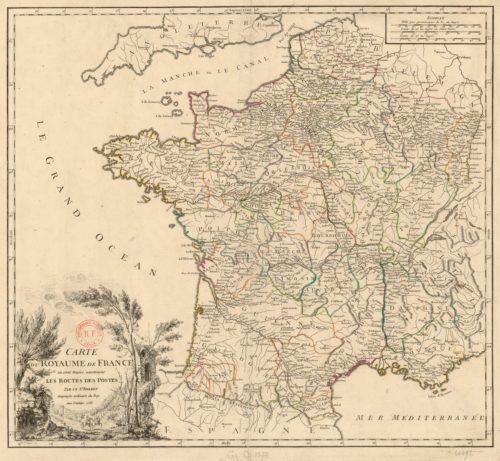 Carte des routes des postes datant de 1758