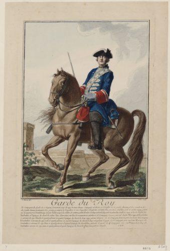 Garde du Roy, dessin par Charles Eisen et gravure par Pitre, 1756